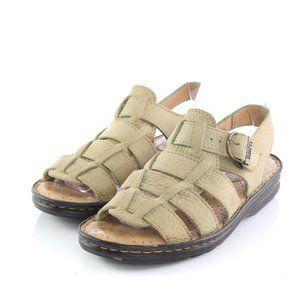 Born Green Leather Fisherman Sandals Open Toe